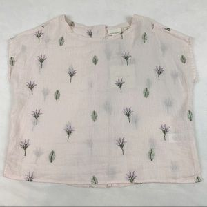 Cynthia Rowley floral embroidered linen top blouse